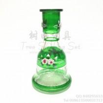 阿拉伯中号刻画水烟瓶绿色