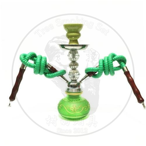 阿拉伯水烟小号双管蕾丝壶-绿