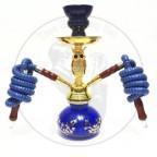 阿拉伯水烟小号双管猫头鹰壶-蓝