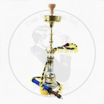 叙利亚大号单管水烟壶金色银色杆子配戴穗烟管